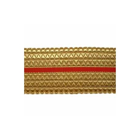 GOLD/RED BELT LACE - 2 W/M GOLD, 2 INCHES