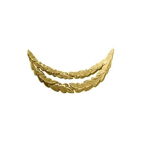 2 ROW GOLD OAK LEAF PEAK EMB - SHORT