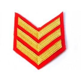 3 BAR CHEVRON MESS DRESS ROYAL MARINES GOLD ON RED