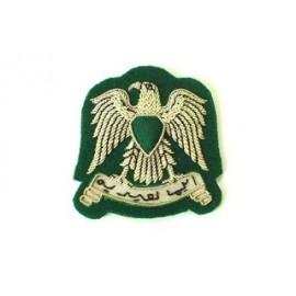 LIBYA ARMY CAP BADGE ON GREEN