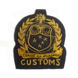 WEST SAMOA CUSTOMS CAP BADGE ON BLACK