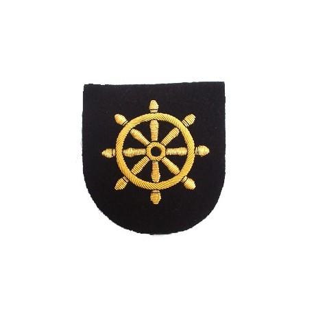 new merchant navy quarter master arm badge ships wheel on black
